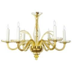 Gracefully-Shaped Murano 1960s Six-Light Goldenrod Glass Chandelier