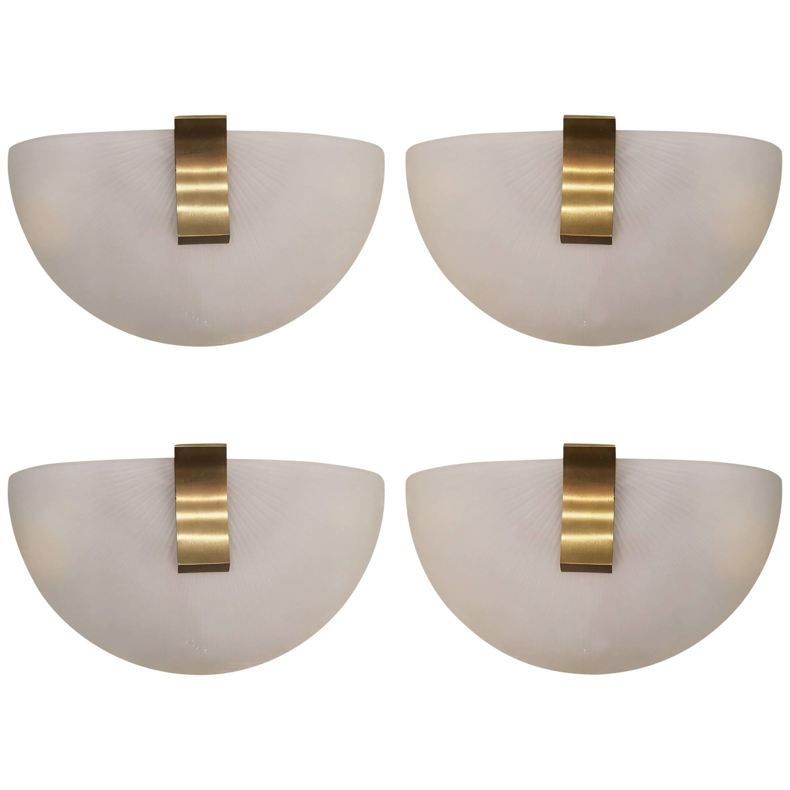Two Pair of French 1950s White Frosted Wall Sconces Signed Jean Perzel