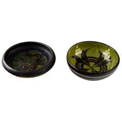 Kahler, Denmark, Two Glazed Stoneware Bowls, circa 1940s