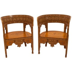 Pair of Moroccan Inlaid Klysmos Chairs, circa 1920