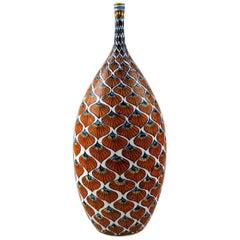 Franco Mari, Deruta Large Ceramic Vase, Narrow Neck, Italy, Late 20th Century