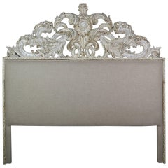 French Painted Belgium Linen Rococo Style Headboard