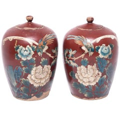 Pair of Chinese Painted Oxblood Jars with Phoenix and Peonies