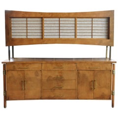 Harold Schwartz for Romweber Burled Sideboard with Shoji Upper Cabinet, 1950s