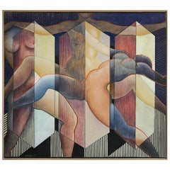 George Dergalis 1993 Painting on Linen of Three Nude Woman