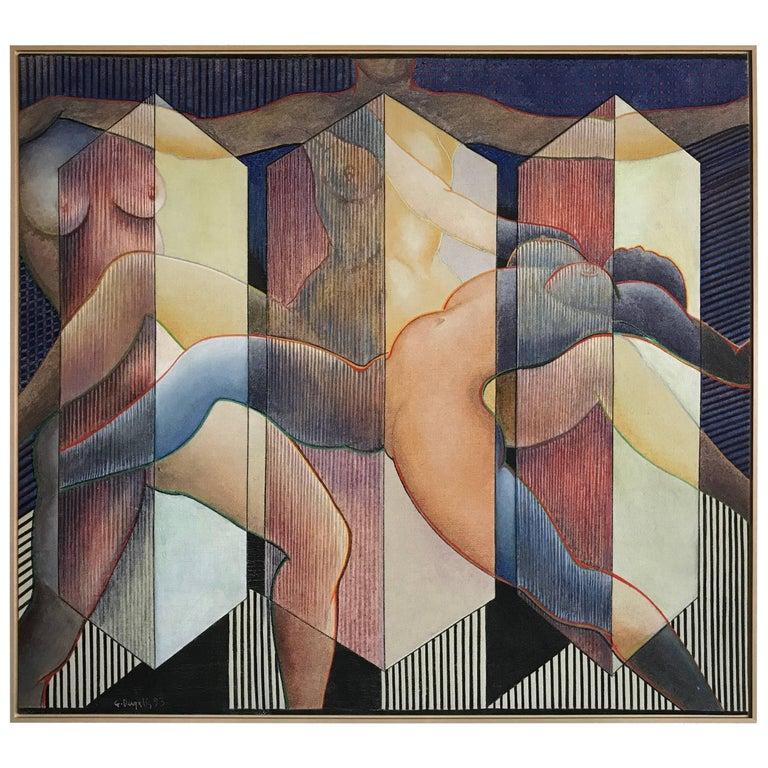 George Dergalis 1993 Painting on Linen of Three Nude Woman