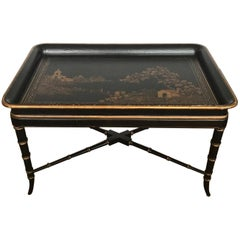 17th and 18th Century Western Style Chinoiserie and Gilt Wooden Tray Table