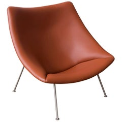 1959, Pierre Paulin, Large Early Oyster, Easy Chair F157 in Brown Leather