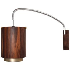 Mid-Century Modern Pair of Wall Sconces Rosewood and Aluminum