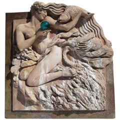Art Deco Style Large-Scale Wall Fountain Signed Genie Riley