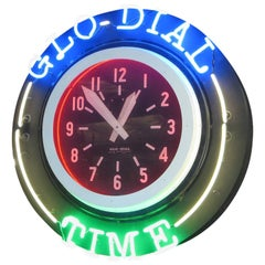 Rare Double Sided Hanging Neon Clock and Thermometer by Glo-Dial