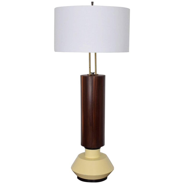 Custom Mexican Modernist Table Lamp in Rosewood and Brass #2