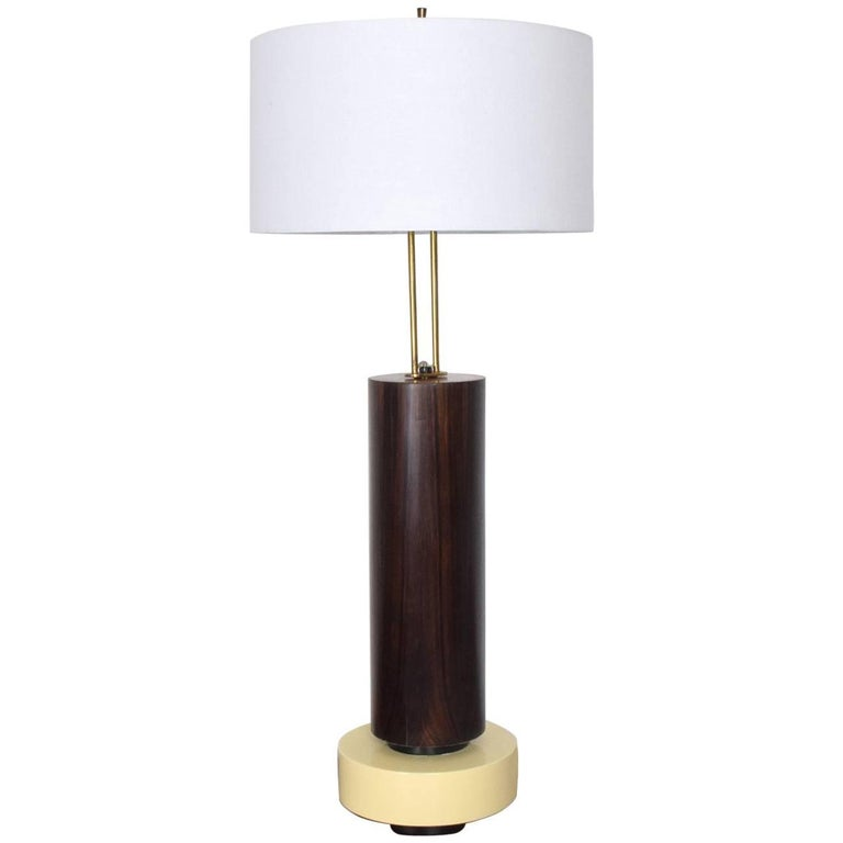 Custom Mexican Modernist Table Lamp in Rosewood and Brass #1