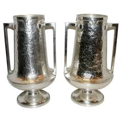 Pair of Silver Plated Vases