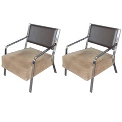 Pair of Brown Leather and Chrome Chairs