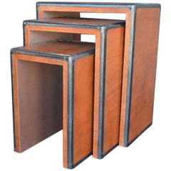 Brown and Black Leather Nesting Tables