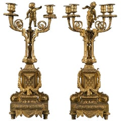 Pair of 19th Century French Gilt Bronze Four-Branch Figural Candelabras