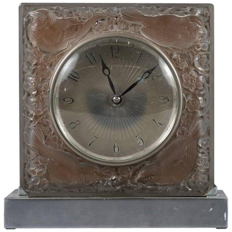 """Fine R. Lalique """"Quatre Moineaux Du Japon"""" for ATO Glass Clock"""