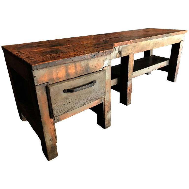 Single Drawer Work Table with Lower Steel Capped Shelf For Sale