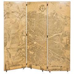 Madrid, Three-Panel Folding Screen by Piero Fornasetti, Early