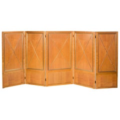 Polished Oak Five Panel Folding Screen by Andre Arbus
