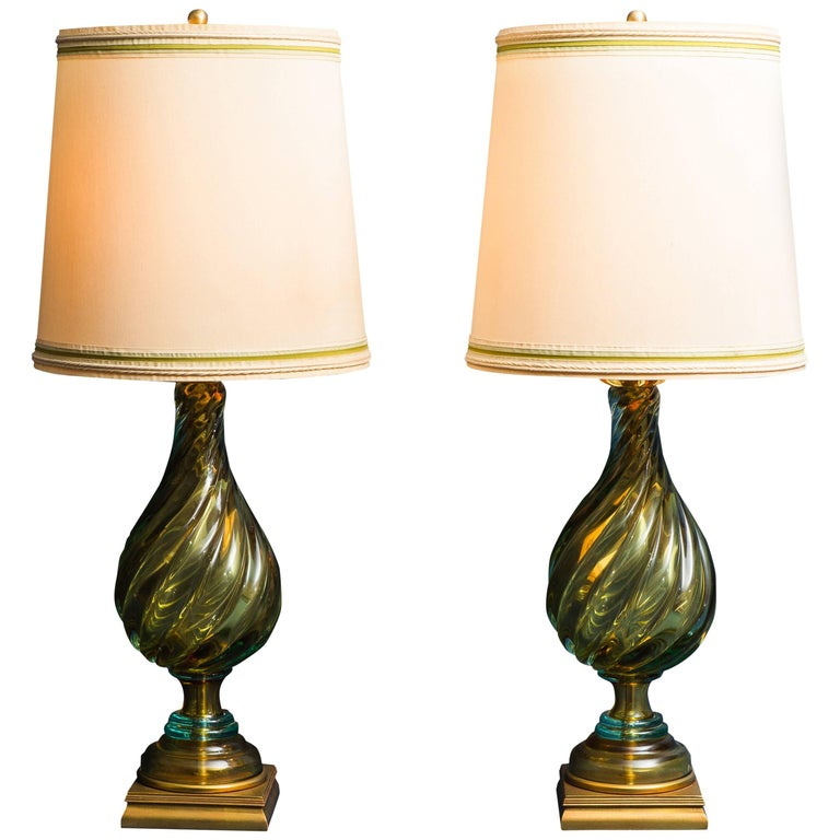 Seguso for marbro pair of blown glass table lamps usa 1960s at seguso for marbro pair of blown glass table lamps usa 1960s for sale aloadofball Image collections