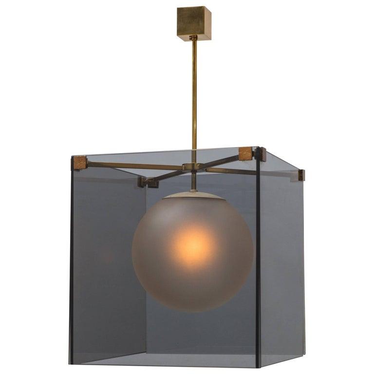 Max Ingrand for Fontana Arte Rare Smoked Glass Chandelier Model 2073, circa 1965