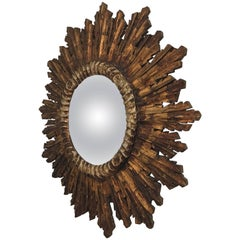 Sun Shaped Mirror, Gold Patinated Wood