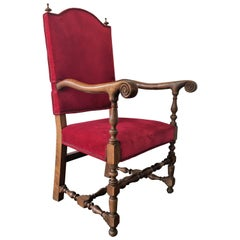 19th Century Louis XIII Style Fauteuils Throne Armchair in Red Velvet