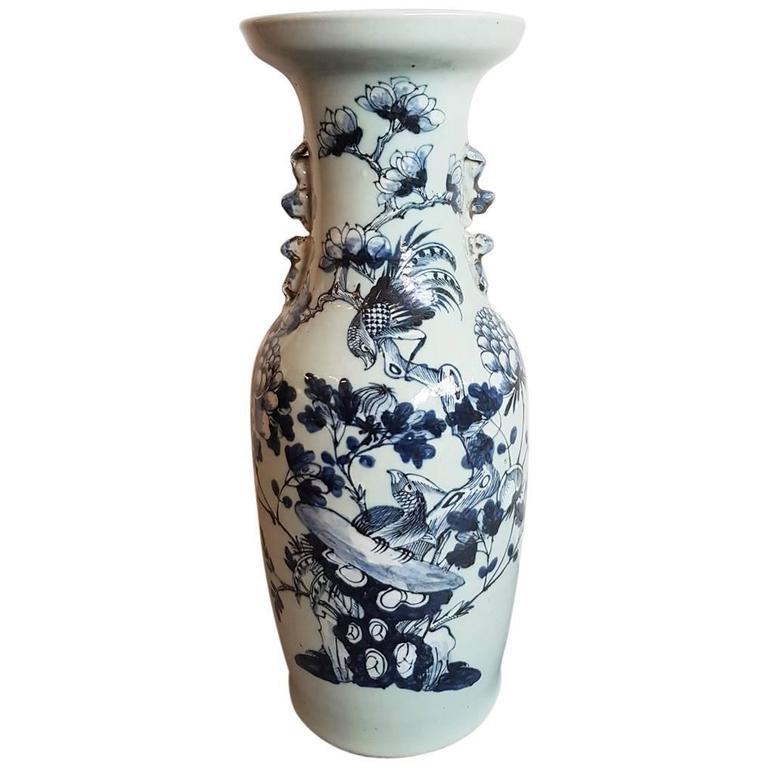 Chinese Blue and White Porcelain Vase, circa 1900 For Sale