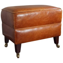 20th Century Art Deco Style Leather Ottoman / Fireplace Stool with Brass Casters