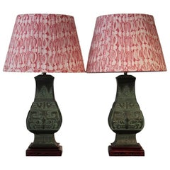 Pair of 20th Century Chinese Bronze Table Lamps