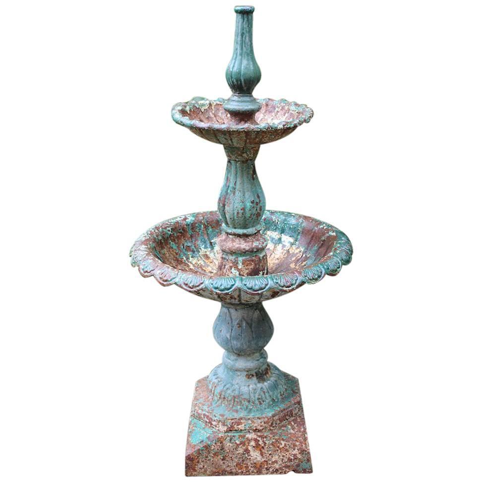 19th Century English Cast Iron Garden Fountain For Sale