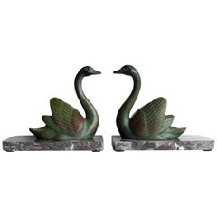 Art Deco Book Ends, Signed M Leducq, Cold Painted, Marble Bases, French, 1930s