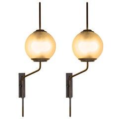Pair of LP1 'Pallone' Wall Lamps by Luigi Caccia Dominioni for Azucena, 1950s