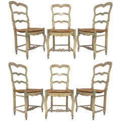 Set of Six 19th Century Louis XV French Country Dining Chairs with Old Paint