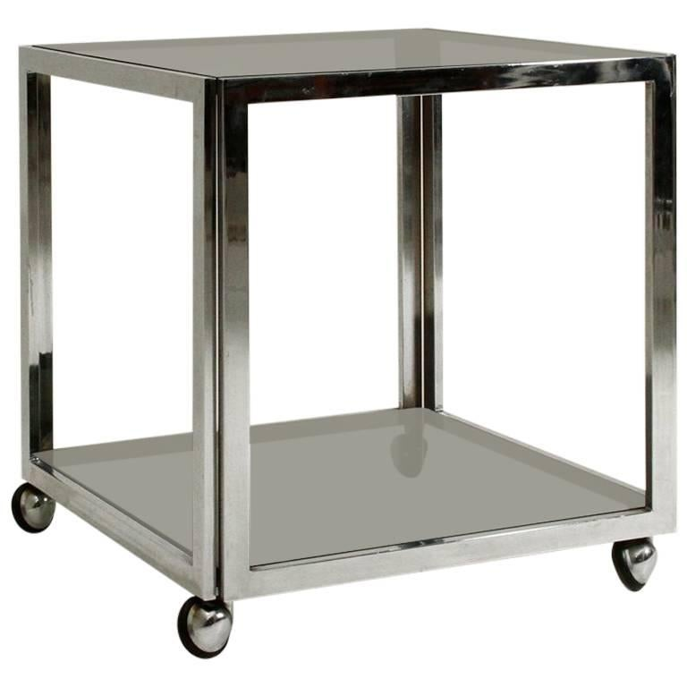 Chromed Side Table with Wells For Sale