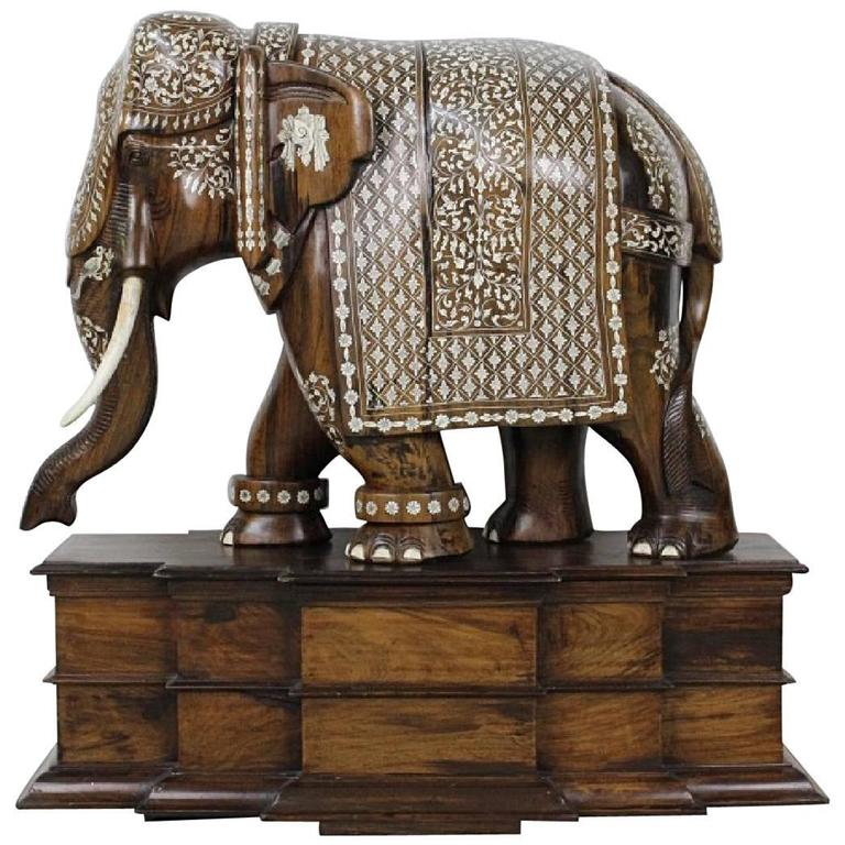 Anglo Indian Large Wood Ornate Elephant Sculpture Statue