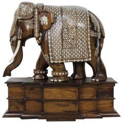 Anglo Indian Large Wood Bone Ornate Elephant Sculpture Statue