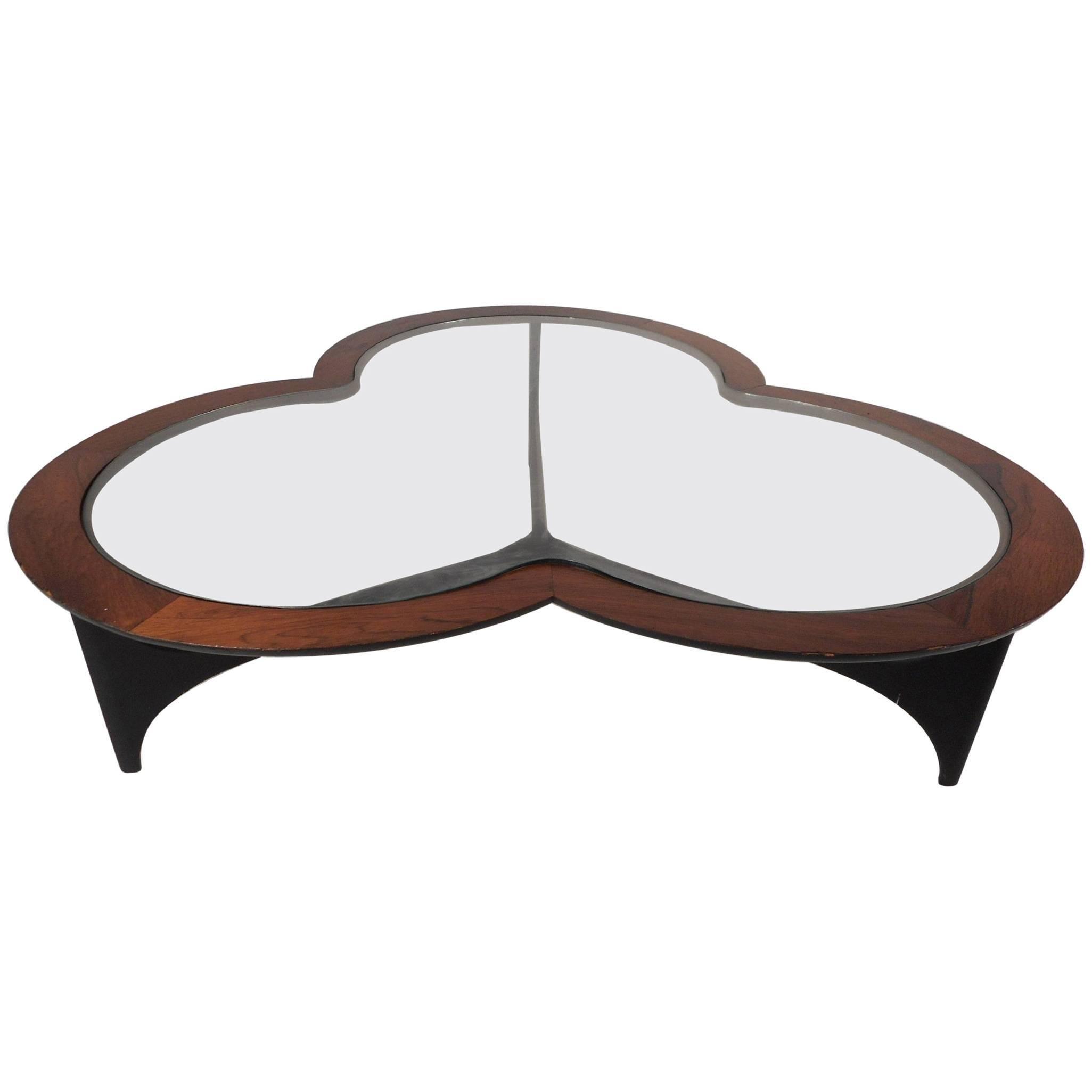 Mid-Century Modern Three-Leaf Clover Walnut Coffee Table by Lane Furniture