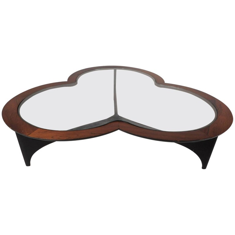 Mid-Century Modern Three-Leaf Clover Walnut Coffee Table by Lane Furniture