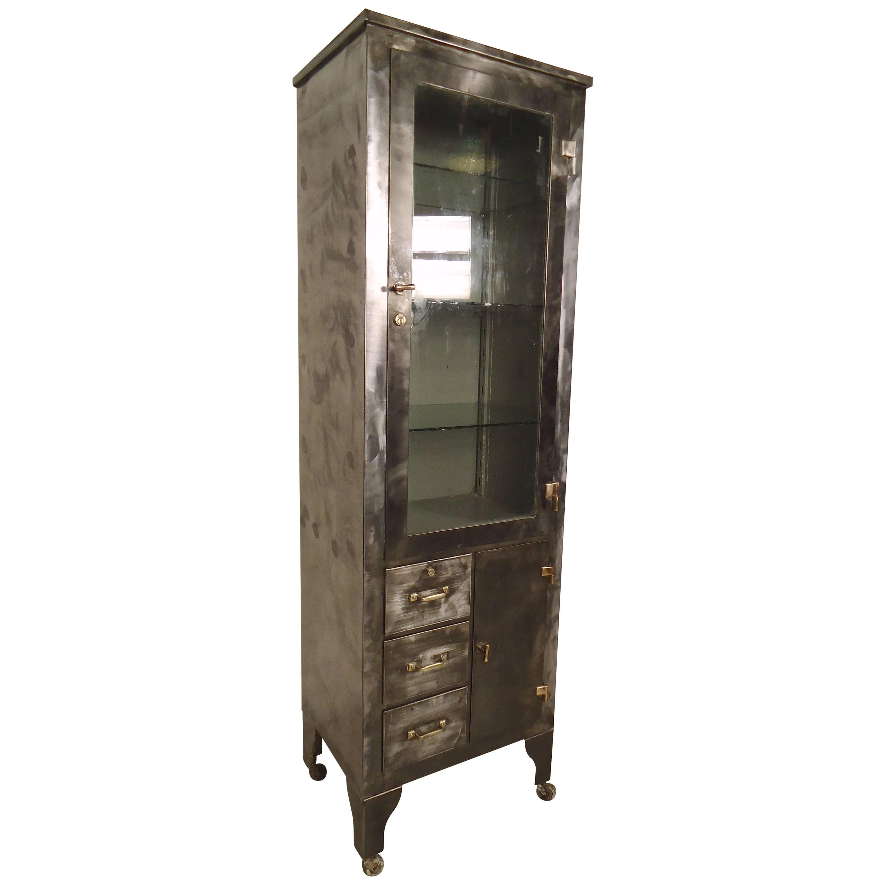 Antique Industrial Oak Apothecary Medicine Cabinet at 1stdibs