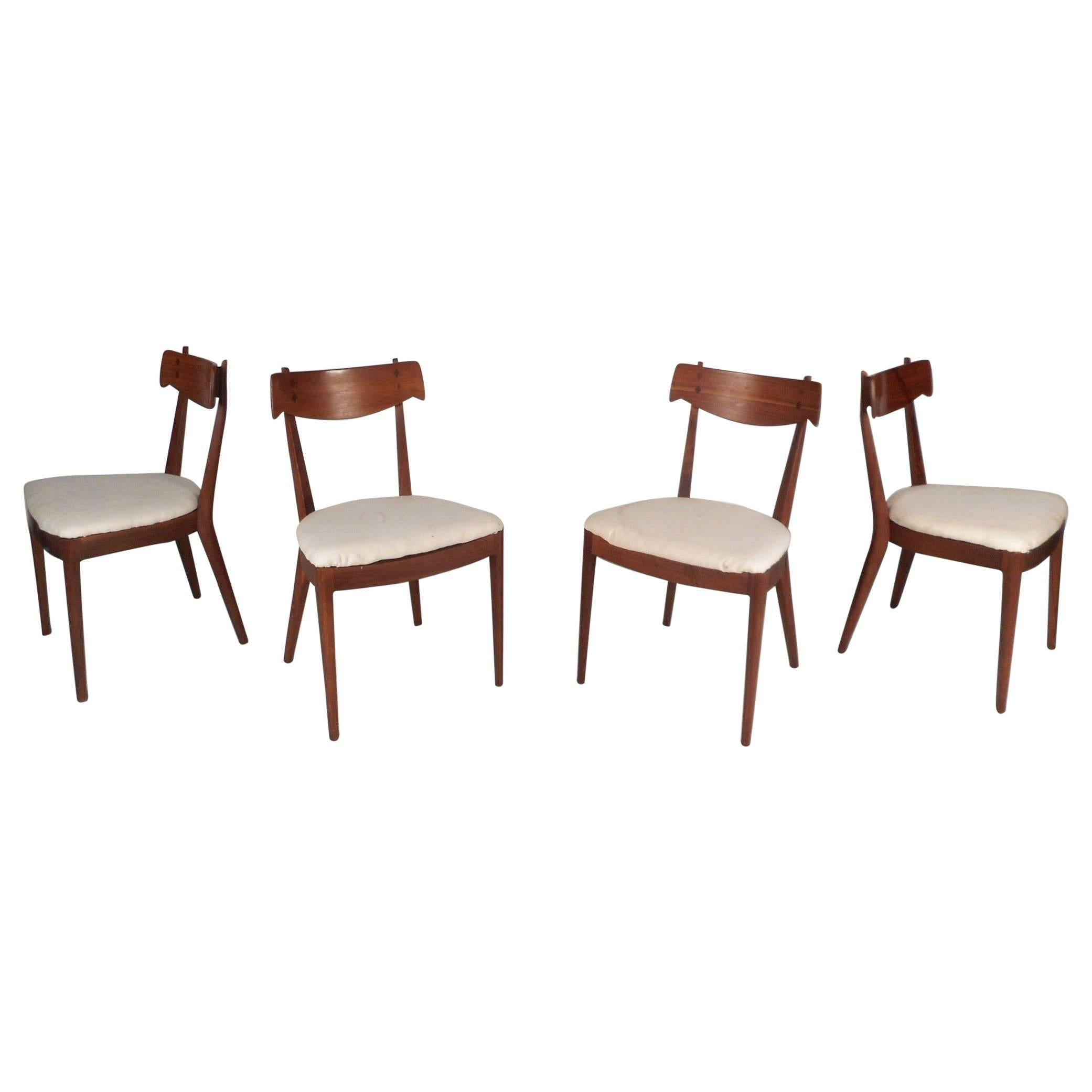 Set Of Mid Century Modern Drexel Declaration Dining Chairs By Kipp Stewart.