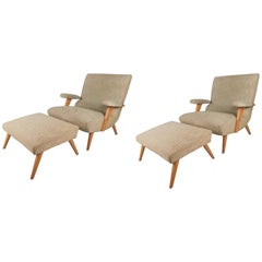 Pair of Mid-Century Modern Selig Lounge Chairs with Ottomans