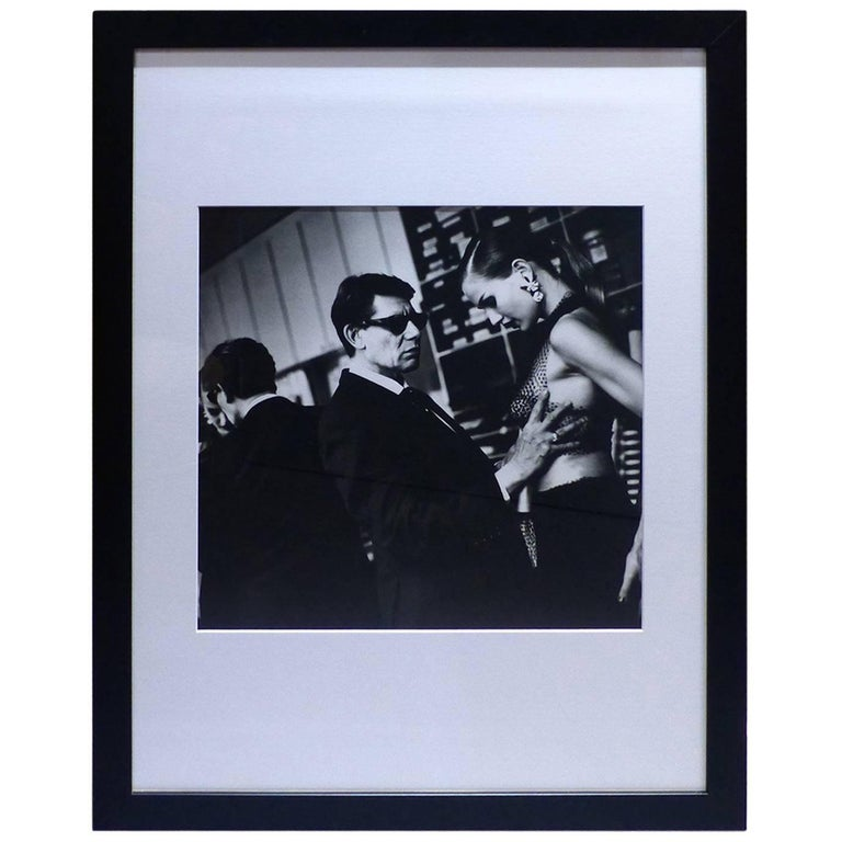 helmut newton framed poster yves saint laurent american vogue paris 1991 at 1stdibs. Black Bedroom Furniture Sets. Home Design Ideas