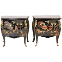 Pair of Louis XV Style Coromandel Lacquer Commodes