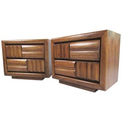 Pair of Vintage Modern Sculpted Front Nightstand by Lane