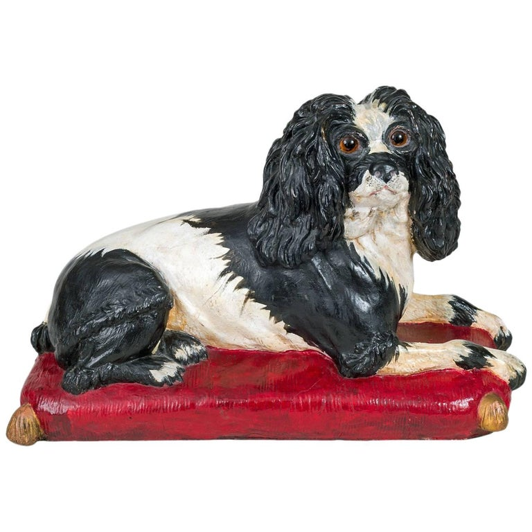 Early Staffordshire Black and White Sitting Spaniel 1