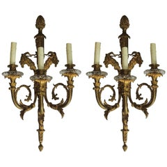 Louis XVI Figural Pair French Doré Bronze Three-Arm Sconces Ram Goat Head Ormolu
