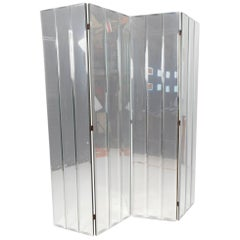 Stunning Mid-Century Modern Four-Panel Mirrored Room Divider